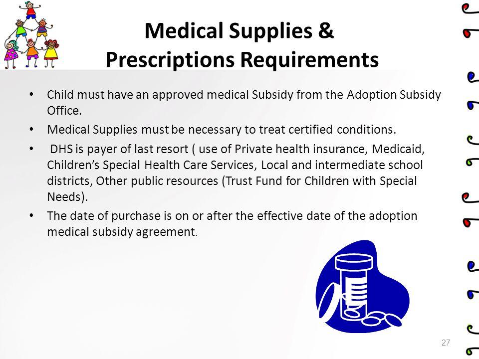 Medical Supplies & Prescriptions Requirements