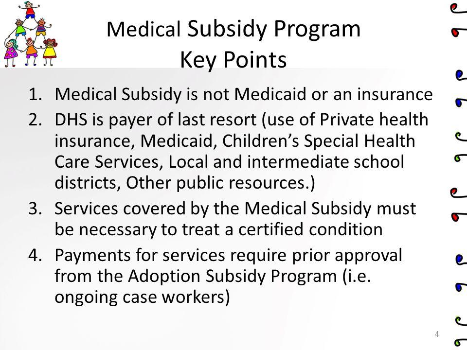 Medical Subsidy Program Key Points