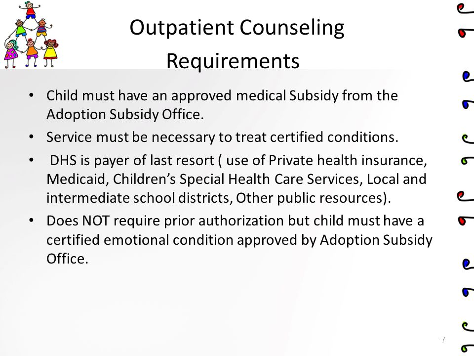 Outpatient Counseling Requirements