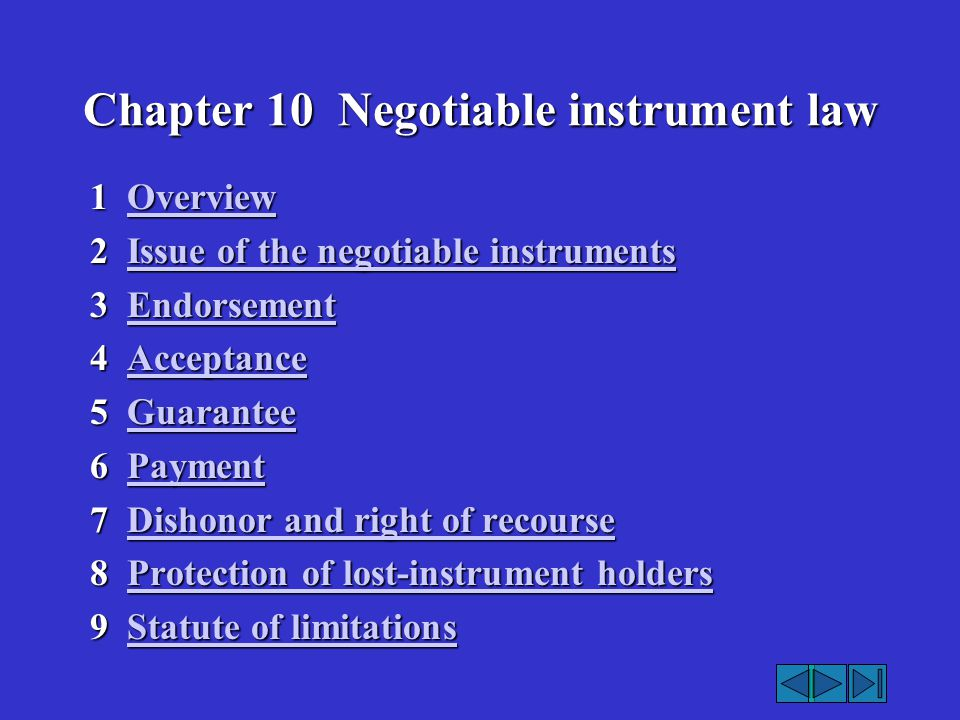 Chapter 10 Negotiable instrument law