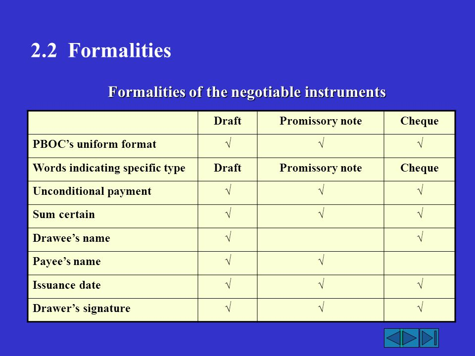 2.2 Formalities Formalities of the negotiable instruments Draft