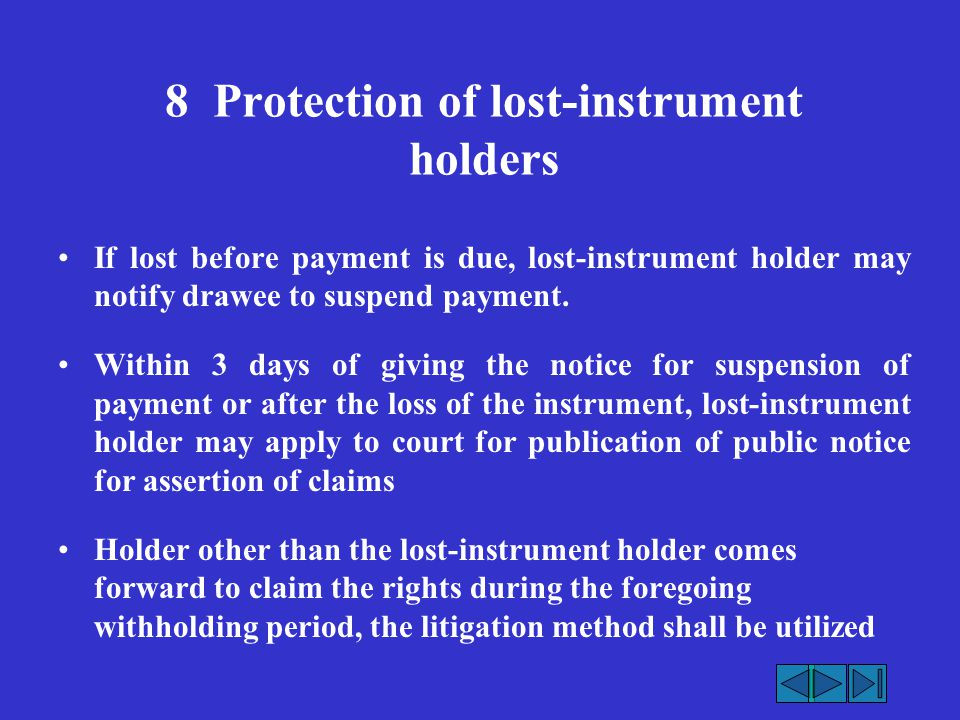 8 Protection of lost-instrument holders