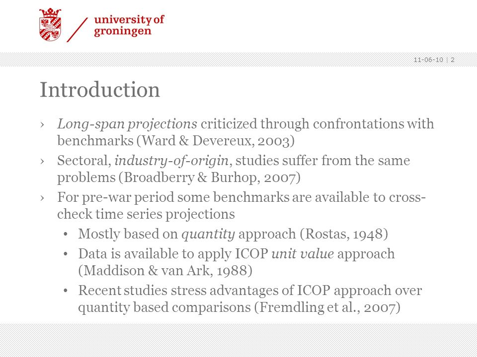 Introduction. Long-span projections criticized through confrontations with benchmarks (Ward & Devereux, 2003)