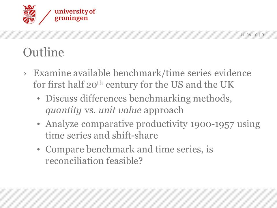 Outline. Examine available benchmark/time series evidence for first half 20th century for the US and the UK.