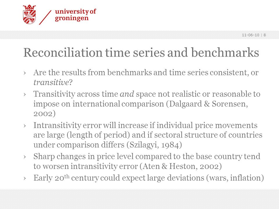 Reconciliation time series and benchmarks