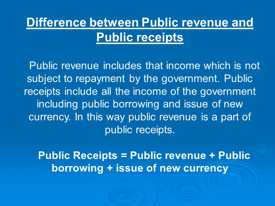 Difference between Public revenue and Public receipts