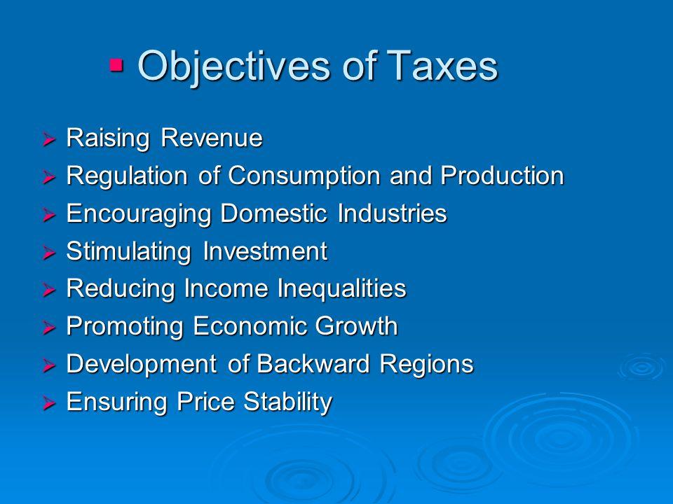 Objectives of Taxes Raising Revenue