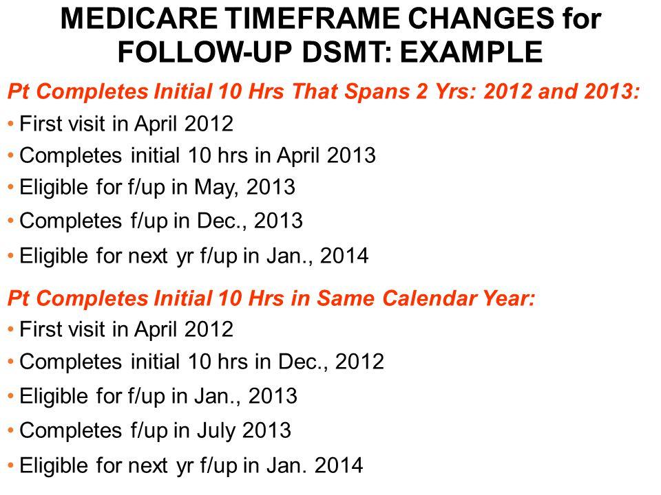 MEDICARE TIMEFRAME CHANGES for FOLLOW-UP DSMT: EXAMPLE