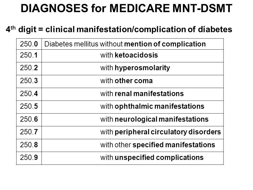 DIAGNOSES for MEDICARE MNT-DSMT