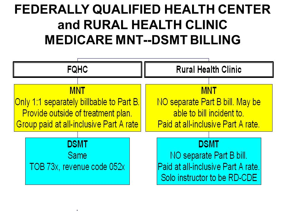 FEDERALLY QUALIFIED HEALTH CENTER and RURAL HEALTH CLINIC MEDICARE MNT--DSMT BILLING