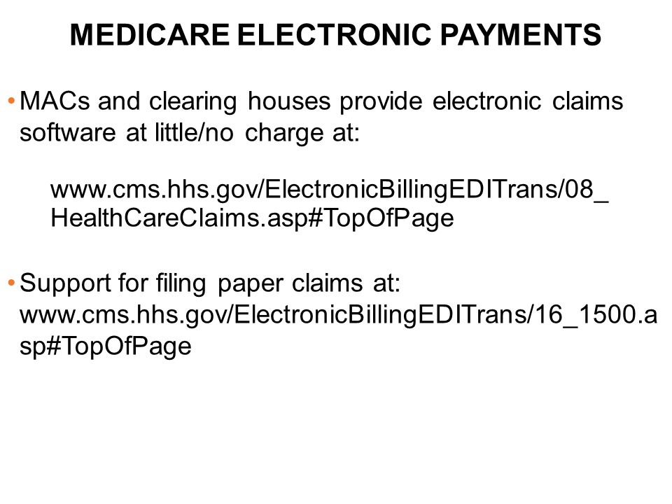 MEDICARE ELECTRONIC PAYMENTS