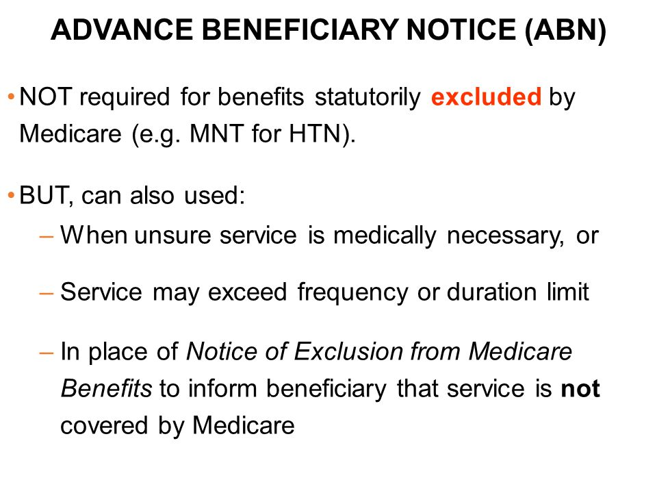 ADVANCE BENEFICIARY NOTICE (ABN)