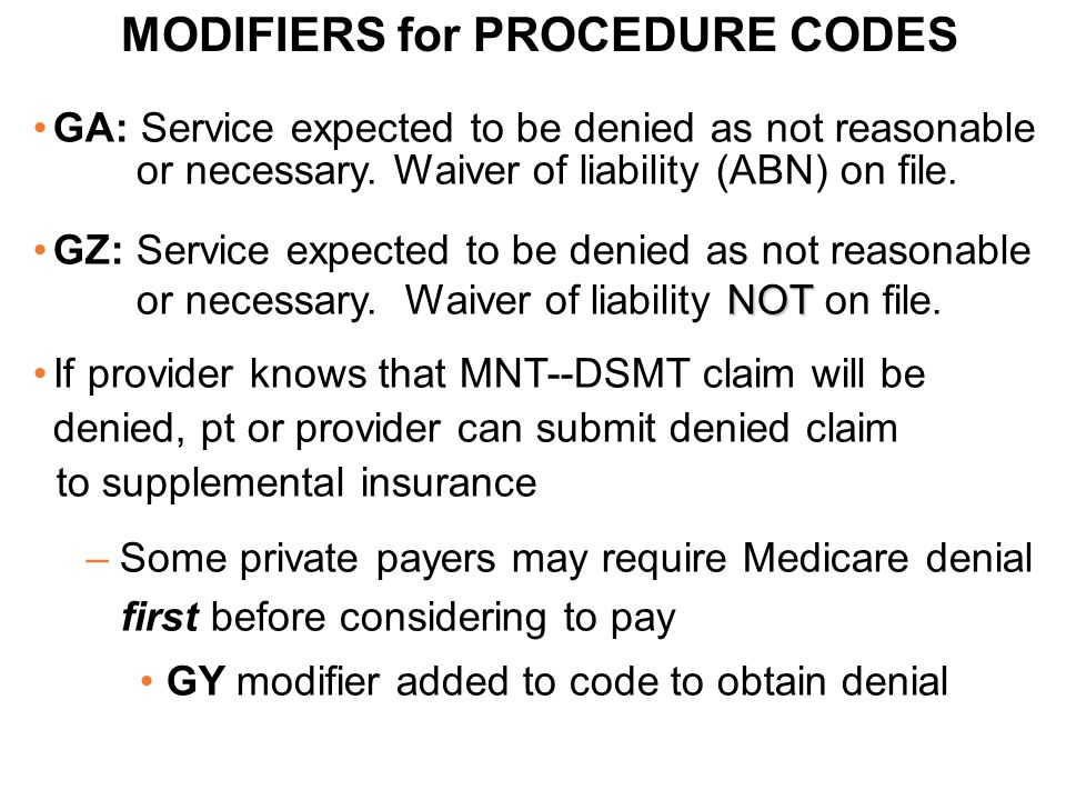 MODIFIERS for PROCEDURE CODES