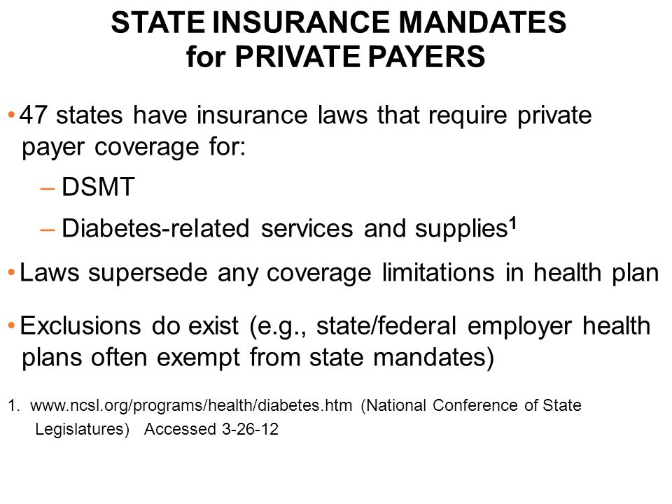 STATE INSURANCE MANDATES for PRIVATE PAYERS