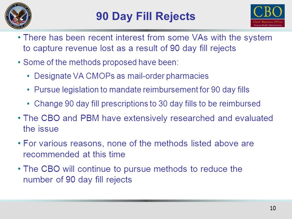 90 Day Fill Rejects There has been recent interest from some VAs with the system to capture revenue lost as a result of 90 day fill rejects.
