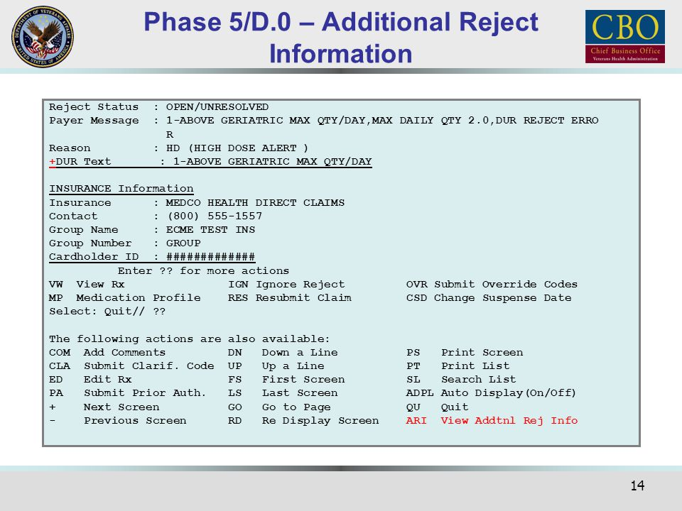 Phase 5/D.0 – Additional Reject Information
