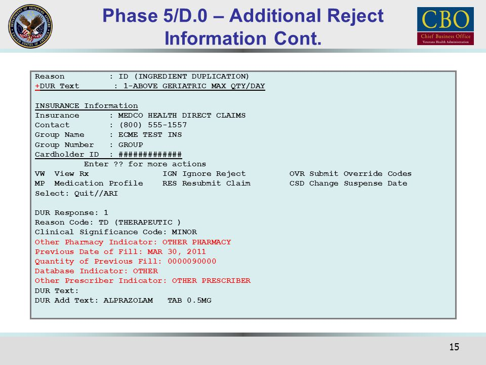 Phase 5/D.0 – Additional Reject Information Cont.