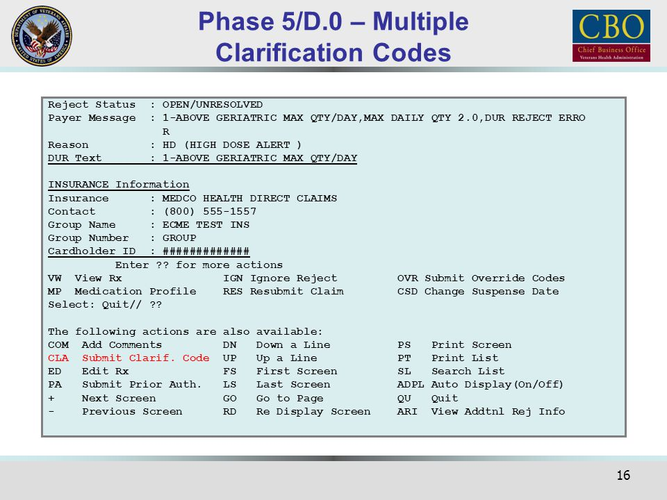 Phase 5/D.0 – Multiple Clarification Codes