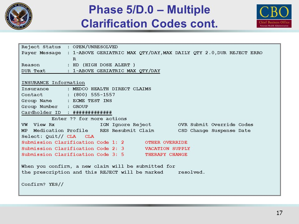 Phase 5/D.0 – Multiple Clarification Codes cont.