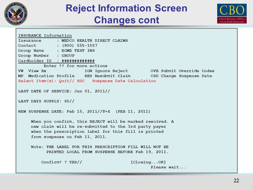Reject Information Screen Changes cont