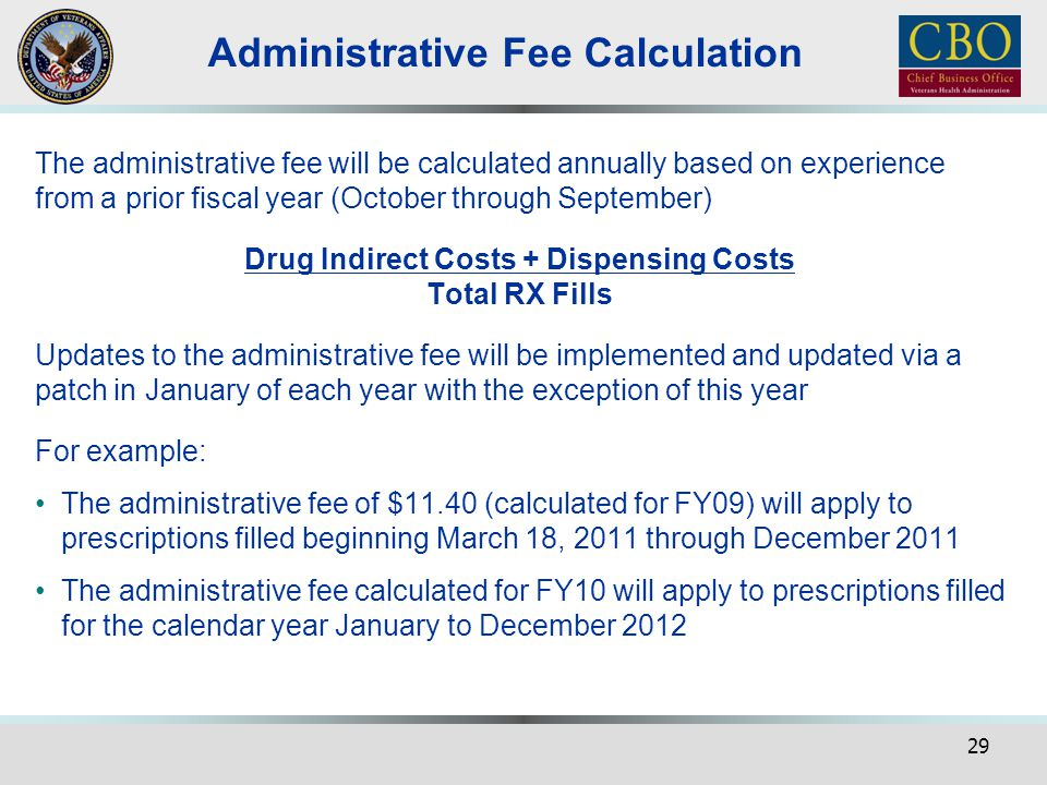 Administrative Fee Calculation
