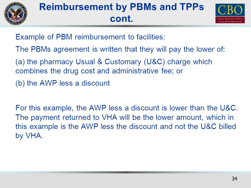 Reimbursement by PBMs and TPPs cont.