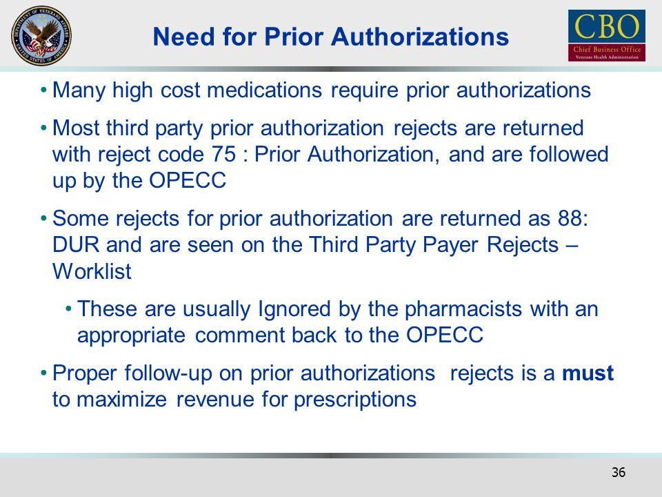 Need for Prior Authorizations