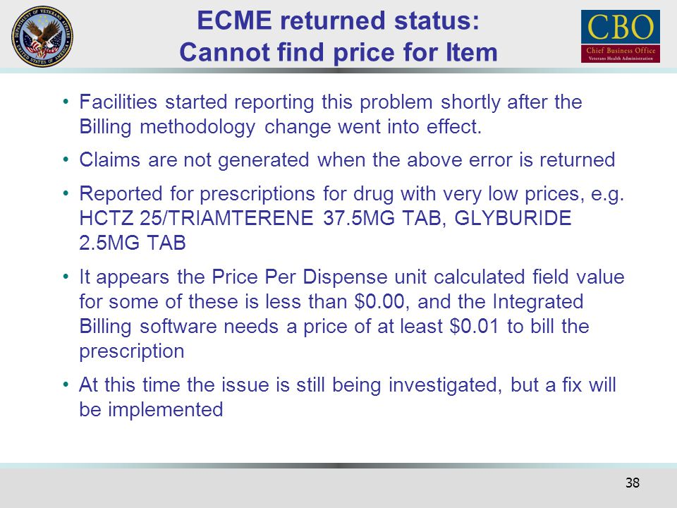 ECME returned status: Cannot find price for Item