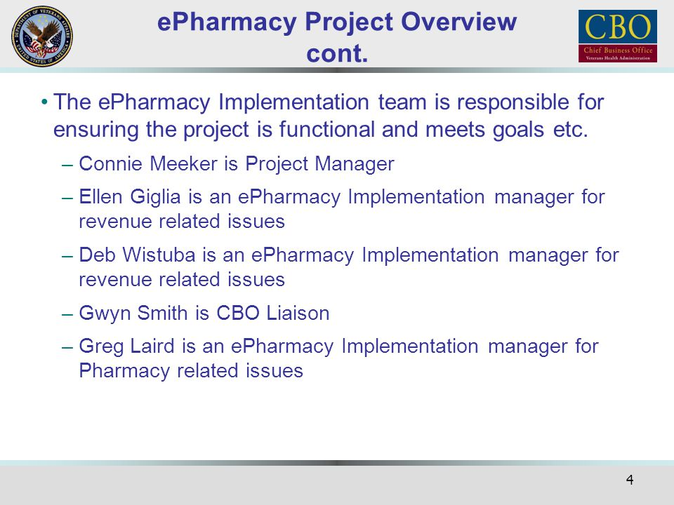 ePharmacy Project Overview cont.