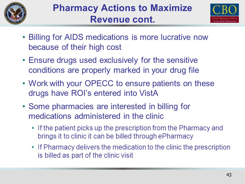 Pharmacy Actions to Maximize Revenue cont.