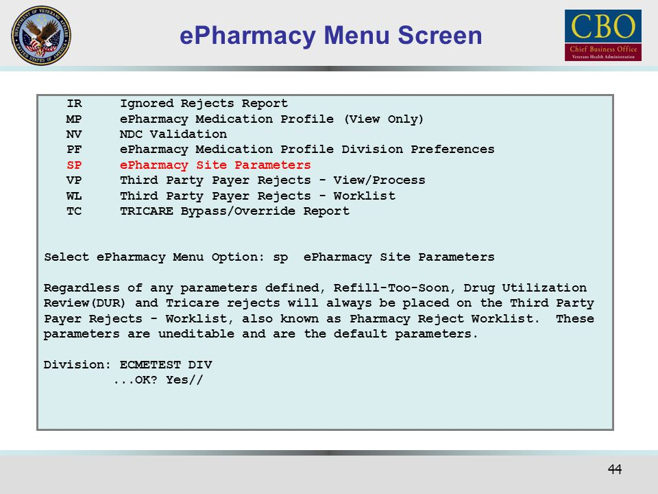 ePharmacy Menu Screen IR Ignored Rejects Report