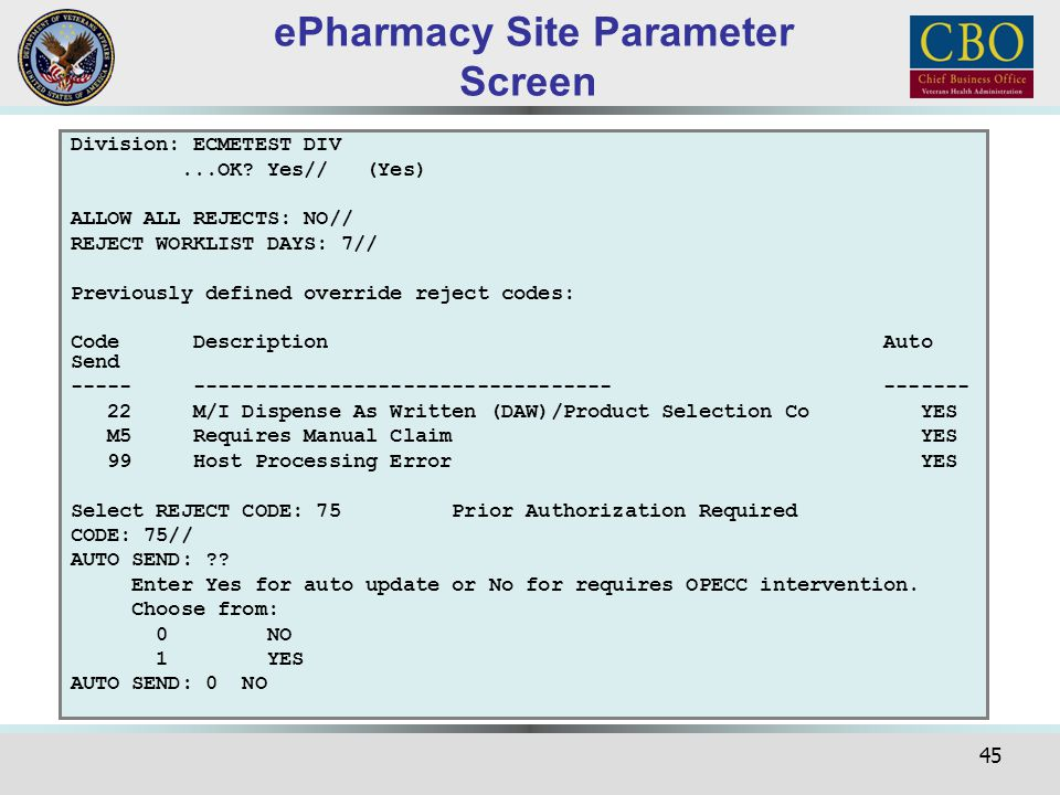 ePharmacy Site Parameter Screen