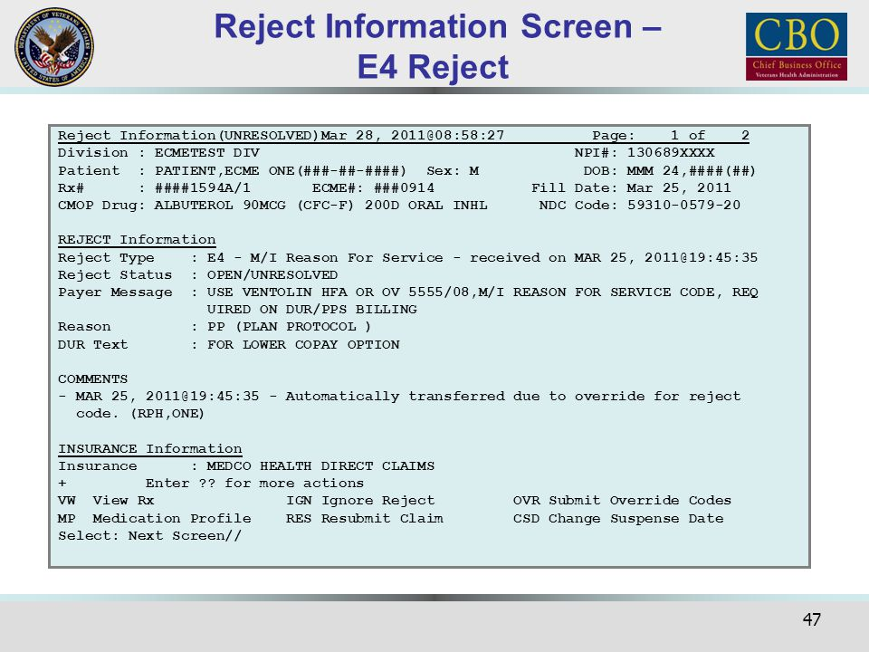 Reject Information Screen – E4 Reject