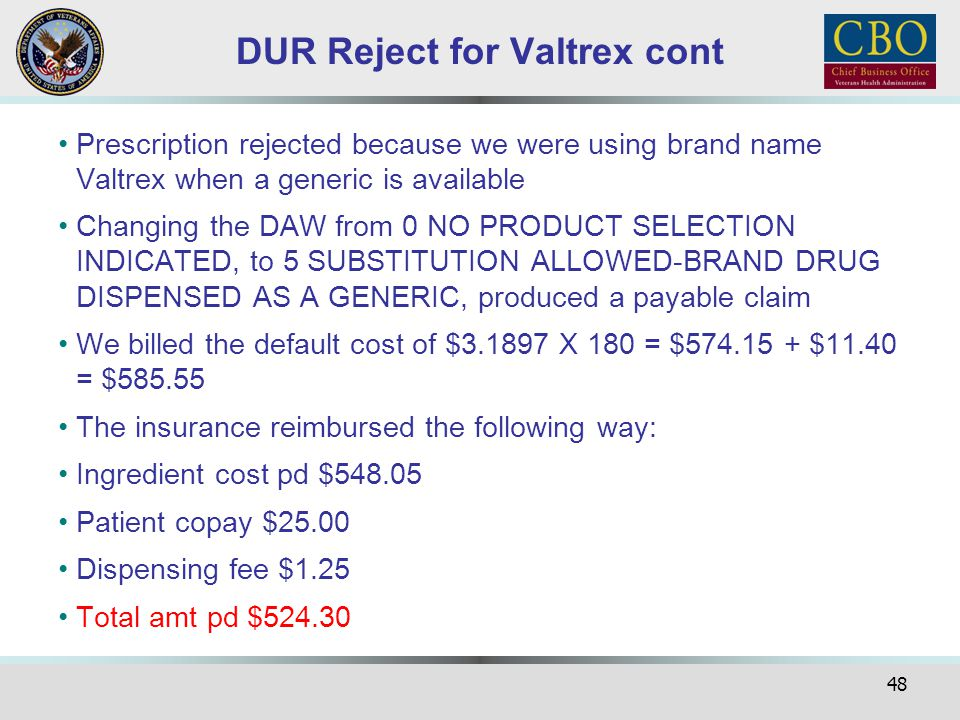 DUR Reject for Valtrex cont