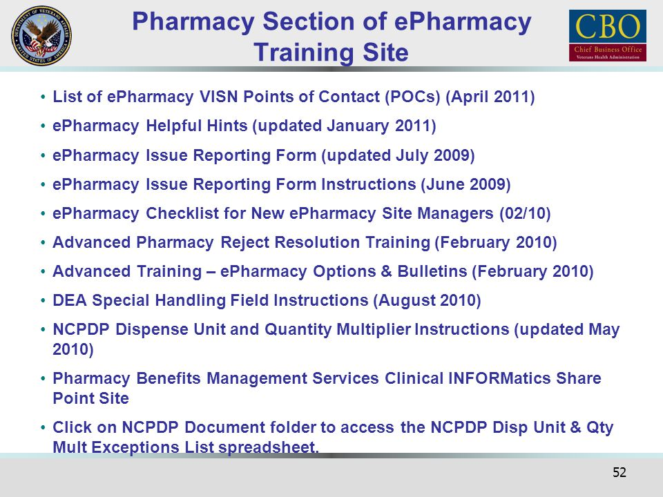Pharmacy Section of ePharmacy Training Site