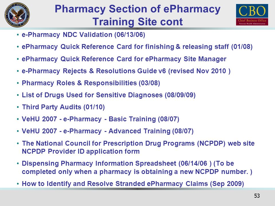 Pharmacy Section of ePharmacy Training Site cont
