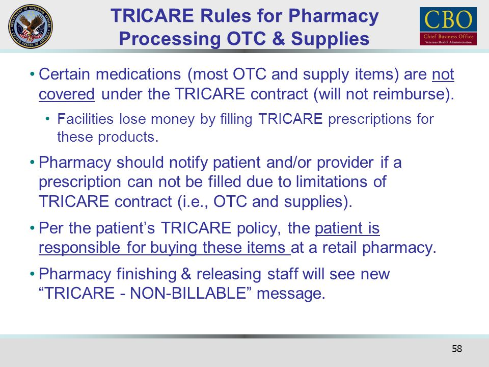 TRICARE Rules for Pharmacy Processing OTC & Supplies