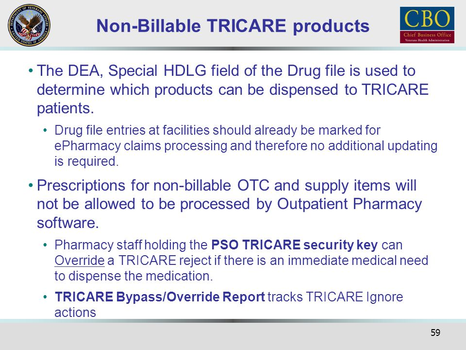 Non-Billable TRICARE products