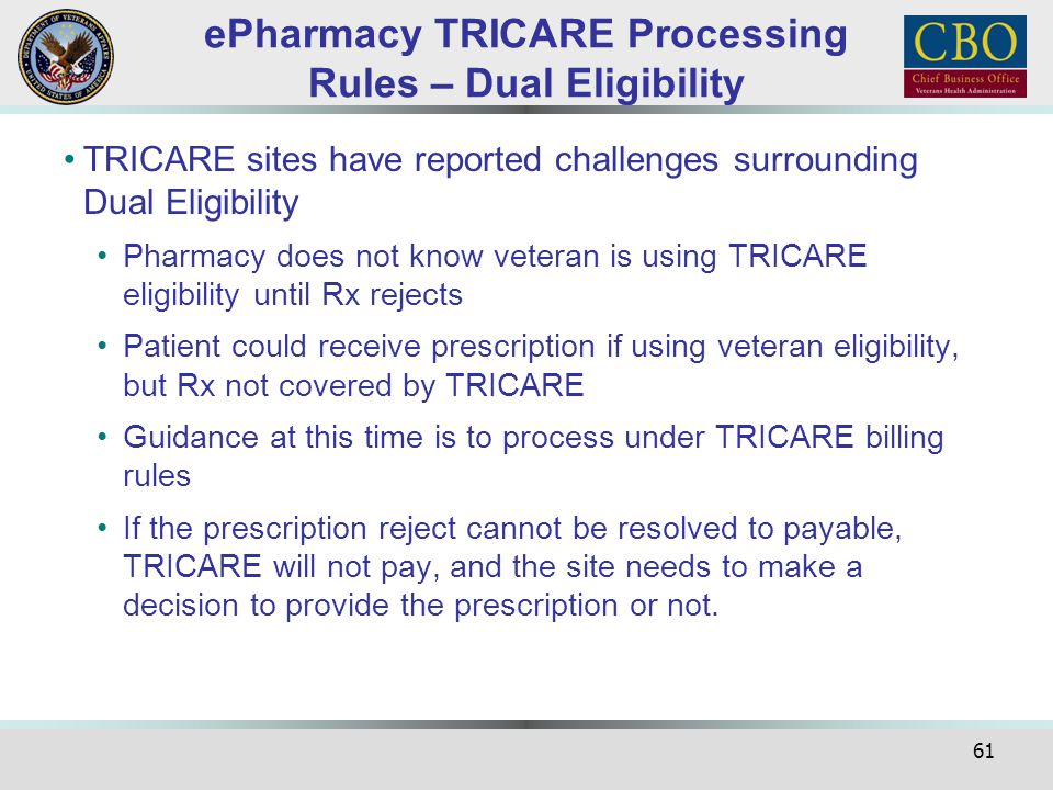 ePharmacy TRICARE Processing Rules – Dual Eligibility