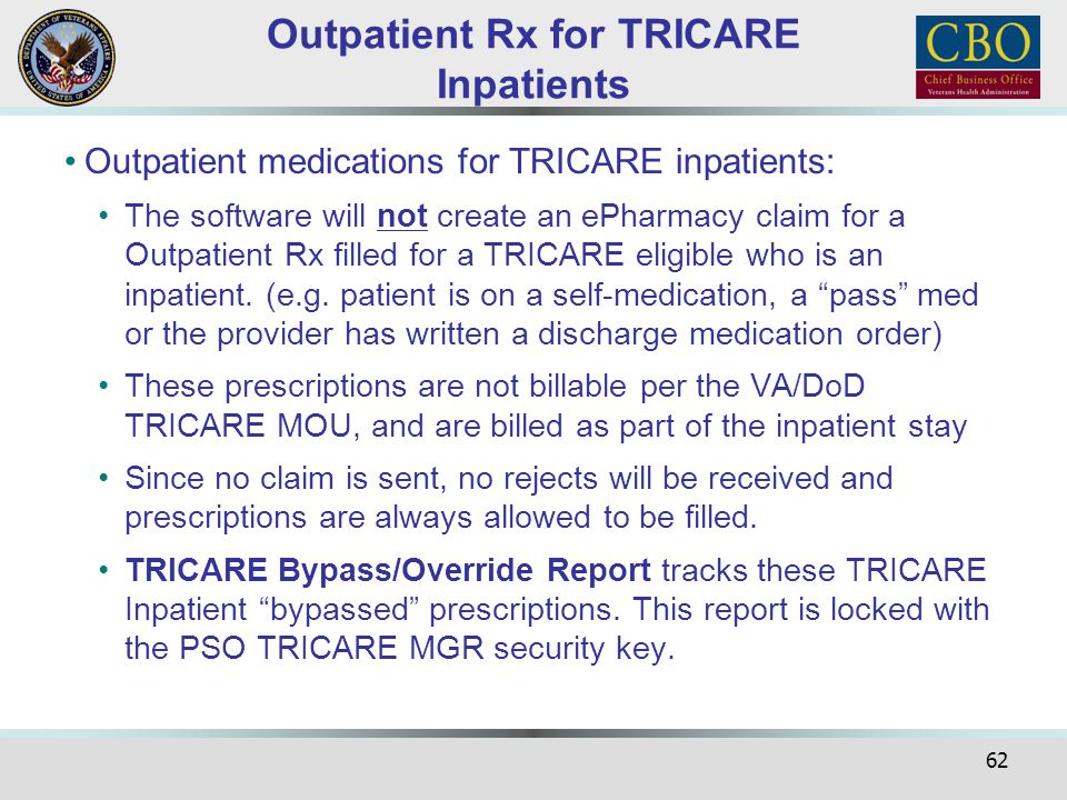 Outpatient Rx for TRICARE Inpatients