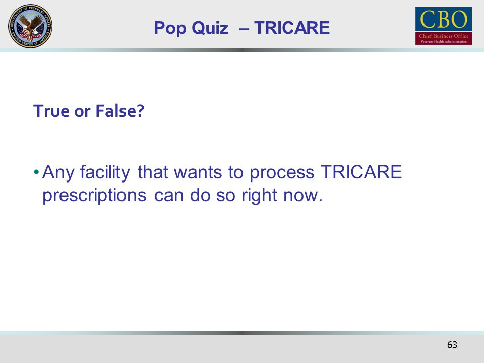 Pop Quiz – TRICARE True or False