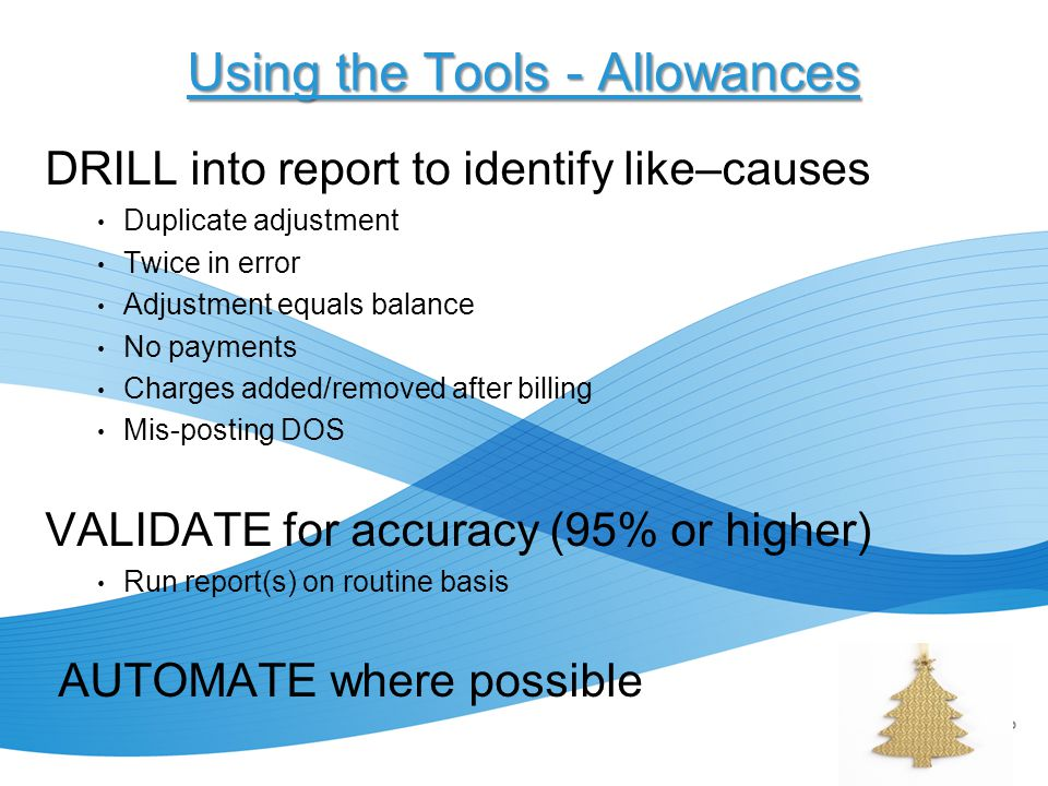 Using the Tools - Allowances