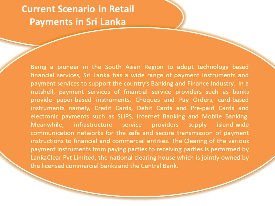 Current Scenario in Retail Payments in Sri Lanka