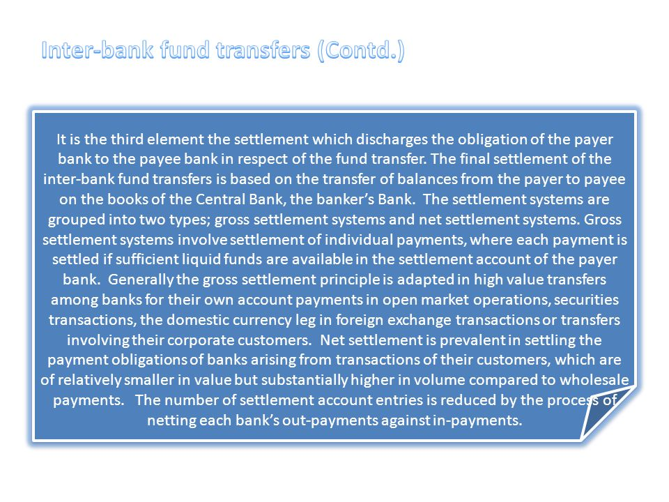Inter-bank fund transfers (Contd.)