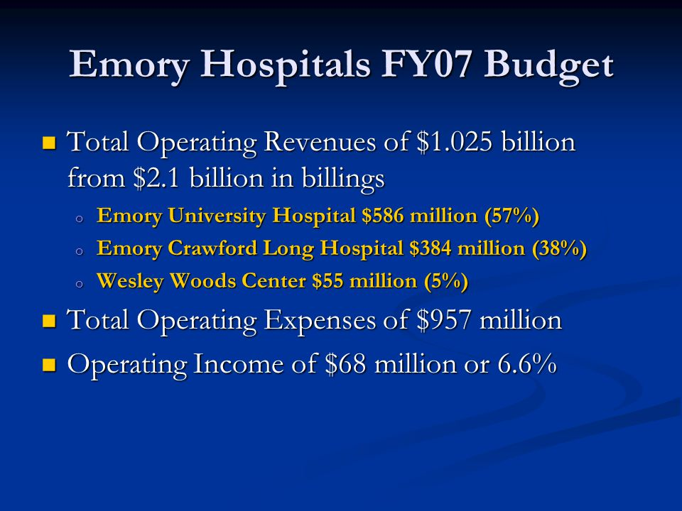Emory Hospitals FY07 Budget