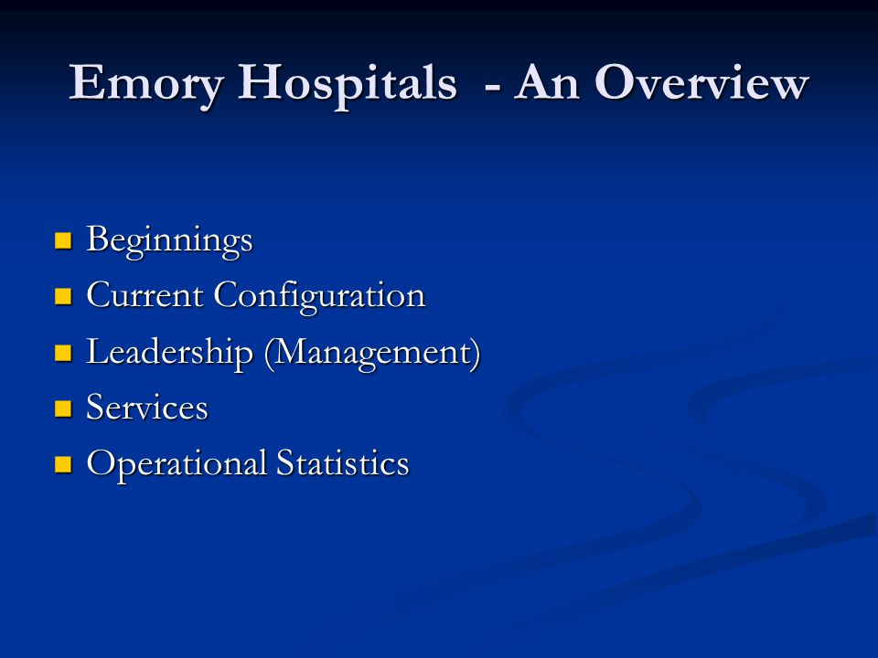 Emory Hospitals - An Overview