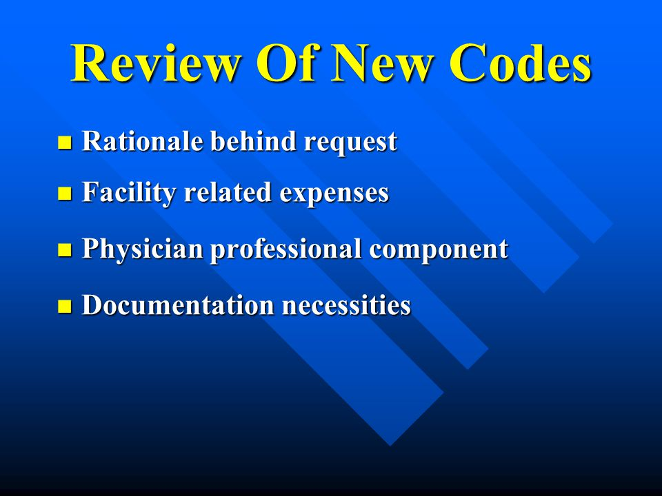 Review Of New Codes Rationale behind request Facility related expenses