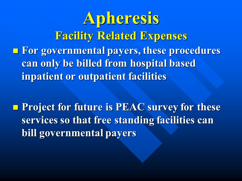 Apheresis Facility Related Expenses