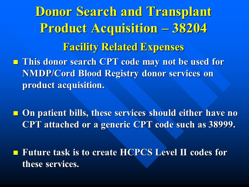 Donor Search and Transplant Product Acquisition – 38204 Facility Related Expenses
