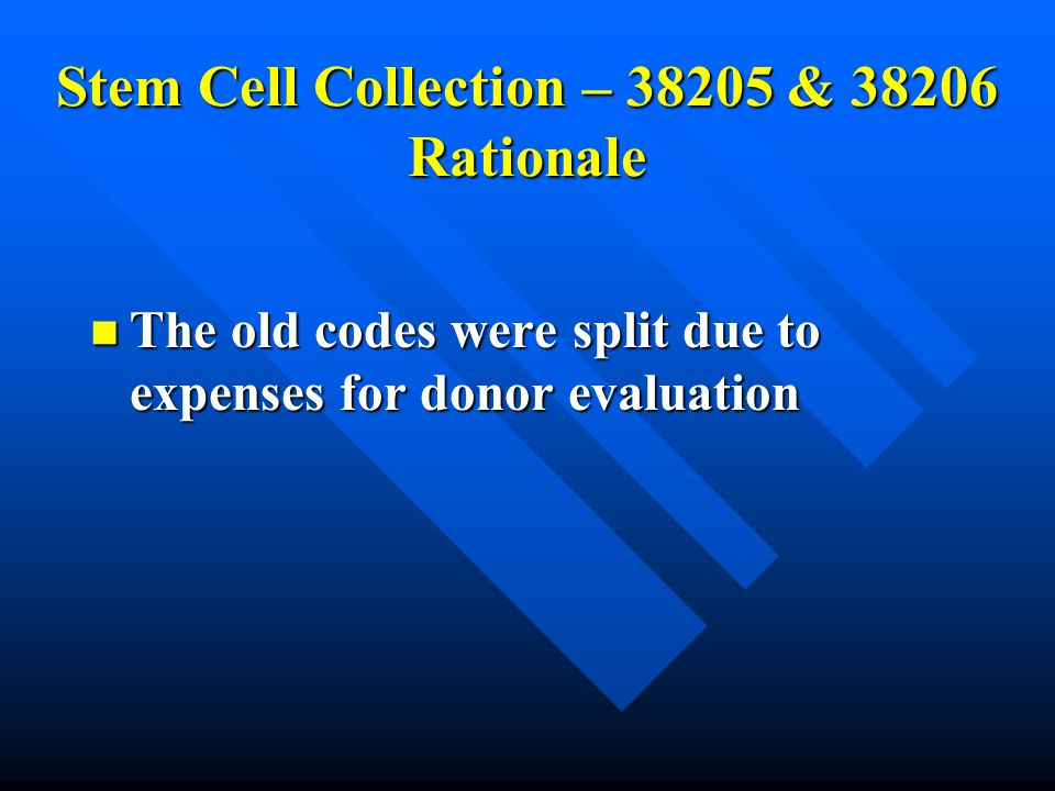 Stem Cell Collection – 38205 & 38206 Rationale